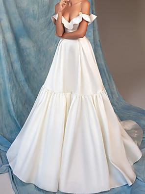 cheap Wedding Dresses-A-Line Wedding Dresses Off Shoulder Floor Length Satin Sleeveless Simple with Pleats Ruffles 2020