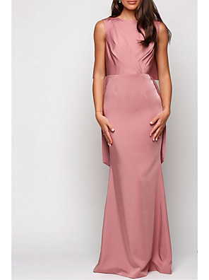 cheap Bridesmaid Dresses-A-Line Jewel Neck Floor Length Satin Bridesmaid Dress with Pleats