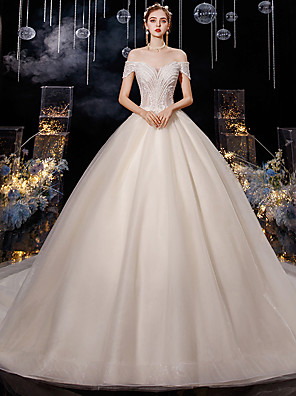 cheap Prom Dresses-Ball Gown Wedding Dresses Off Shoulder Chapel Train Tulle Short Sleeve Formal Elegant with Pleats Beading 2020