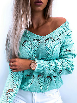cheap Women's Blouses & Shirts-Women's Basic Knitted Hollow Out Solid Colored Sweater Long Sleeve Sweater Cardigans V Neck Fall Winter Black Blushing Pink Light Blue