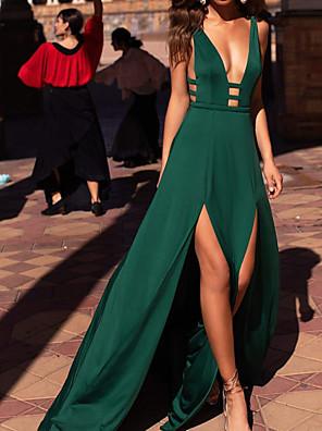 abordables Robes de Soirée-Trapèze Jolis Dos Sexy Vêtements de fête robe ceremonie Robe Col en V Sans Manches Traîne Brosse Spandex avec Lisse Fendue 2020