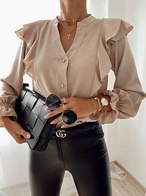 cheap Women's Blouses & Shirts-Women's Blouse Shirt Solid Colored Long Sleeve Ruffle Patchwork V Neck Tops Loose Basic Basic Top White Black Khaki