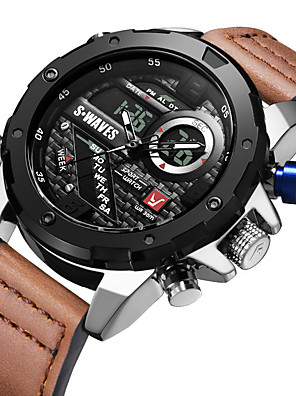 cheap Sport Watches-SWAVES Men's Sport Watch Automatic self-winding Sporty Stylish Casual Water Resistant / Waterproof Analog - Digital Black+Gloden White Black / Genuine Leather / Japanese / Calendar / date / day
