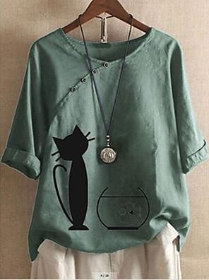 cheap Women's Blouses & Shirts-Women's Plus Size Blouse Cat Animal Cartoon Print V Neck Tops Basic Basic Top White Blue Red