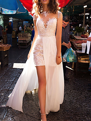 cheap Wedding Dresses-A-Line Wedding Dresses Jewel Neck Sweep / Brush Train Detachable Lace Tulle Sleeveless Beach with Appliques 2020