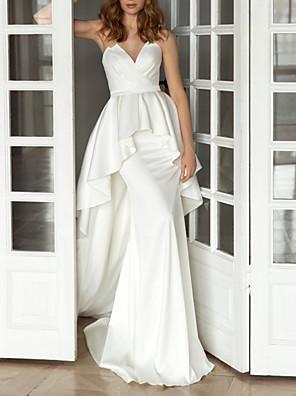 cheap Wedding Dresses-Sheath / Column Wedding Dresses V Neck Sweep / Brush Train Satin Sleeveless Simple with Ruffles 2020