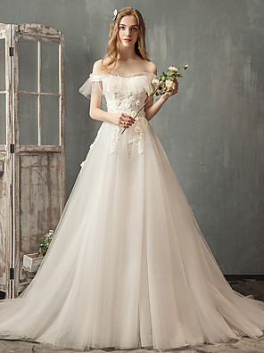 cheap Prom Dresses-A-Line Wedding Dresses Off Shoulder Court Train Lace Sleeveless Formal Elegant with Lace Pearls Appliques 2020