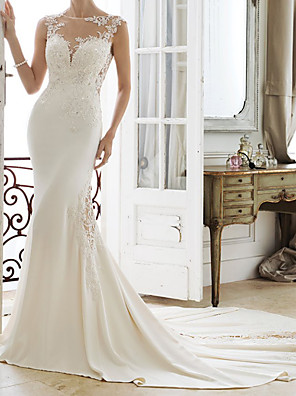 cheap Evening Dresses-Mermaid / Trumpet Wedding Dresses Jewel Neck Chapel Train Lace Stretch Satin Sleeveless Simple with Appliques 2020