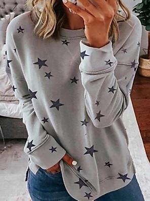 cheap Women's T-shirts-Women's Daily Pullover Sweatshirt Star Casual Hoodies Sweatshirts  Loose Oversized White Blue Wine