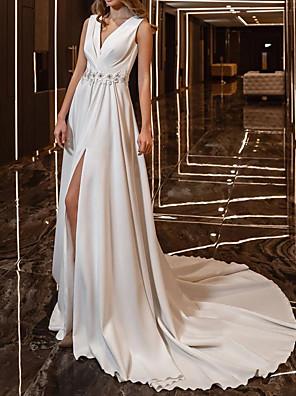 cheap Wedding Dresses-Mermaid / Trumpet Wedding Dresses V Neck Court Train Satin 3/4 Length Sleeve Vintage with Split Front Crystal Brooch 2020