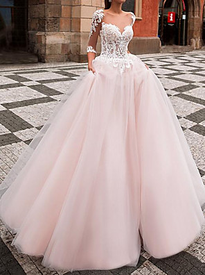 cheap Wedding Dresses-Ball Gown Wedding Dresses Jewel Neck Sweep / Brush Train Lace Tulle Half Sleeve Country with Appliques 2020