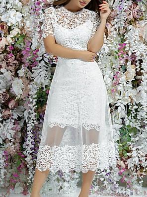 cheap Evening Dresses-A-Line Wedding Dresses Jewel Neck Knee Length Lace Short Sleeve Vintage 1950s with Appliques 2020