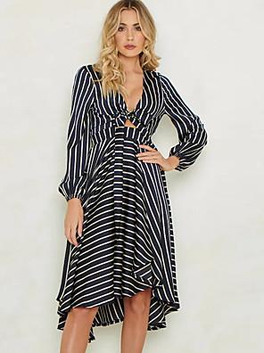 cheap Cocktail Dresses-Women's Sheath Dress Knee Length Dress - Long Sleeve Striped Patchwork Fall V Neck Casual Daily Cotton Slim 2020 Blue S M L XL