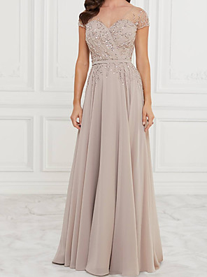 cheap Evening Dresses-A-Line Mother of the Bride Dress Elegant V Neck Floor Length Chiffon Lace Sleeveless with Pleats Sequin 2020