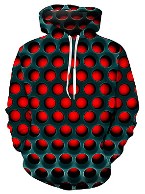 cheap Quartz Watches-Men's Plus Size Street Hoodie Sweatshirt Hoodie Pullover Sweatshirt Geometric 3D Hooded Basic Casual / Daily Hoodies Sweatshirts  Purple Red Blue