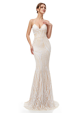 cheap Evening Dresses-Mermaid / Trumpet Beautiful Back Sparkle Engagement Formal Evening Dress Halter Neck Sleeveless Sweep / Brush Train Sequined with Sequin 2020