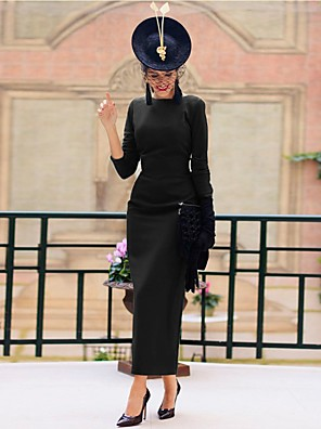 cheap Evening Dresses-A-Line Vintage Sexy Wedding Guest Engagement Dress Jewel Neck 3/4 Length Sleeve Ankle Length Spandex with Sleek 2020