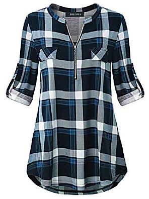 Χαμηλού Κόστους Μπλούζα-μεγάλου μεγέθους μπλούζες για γυναίκες, κυρίες ρετρό στυλ μανταρίνι γιακά τυλιγμένα 3/4 μανίκια πουκάμισα γυναικεία βούβαλο καρό πουκάμισο ευρύχωρο casual πολύ μεγάλες μπλούζες φερμουάρ ταρτάν στολή