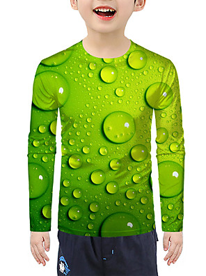 cheap Boys' Tops-Kids Boys' Active Basic 3D Print Long Sleeve Blouse Green