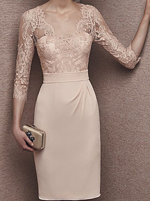 cheap Prom Dresses-Sheath / Column Mother of the Bride Dress Elegant V Neck Knee Length Chiffon Lace Half Sleeve with Appliques 2020
