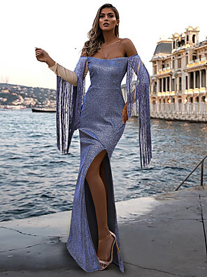 cheap Prom Dresses-Mermaid / Trumpet Sexy Sparkle Party Wear Prom Dress Off Shoulder Long Sleeve Sweep / Brush Train Sequined with Tassel Split 2020