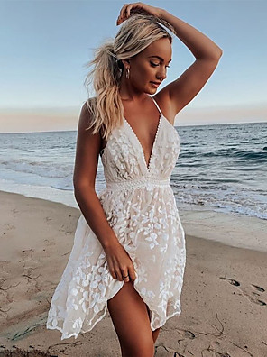 cheap Party Dresses-Women's A-Line Dress Knee Length Dress - Sleeveless Solid Color Lace Backless Embroidered Summer V Neck Sexy Daily Cotton Slim 2020 White S M L XL / Mesh
