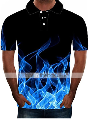 cheap Men's Tees & Tank Tops-Men's Daily Plus Size Polo 3D Graphic Short Sleeve Slim Tops Streetwear Exaggerated Shirt Collar Black Blue Purple