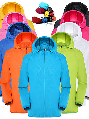 cheap Sports Support & Protective Gear-Men's Women's Full Zip Windbreaker Rain Jacket Running Skin Jacket Long Sleeve UV Sun Protection Quick Dry Water Resistant Performance Running Outdoor Training Sportswear Solid Colored Plus Size Top