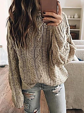 cheap Women's Blouses & Shirts-Women's Basic Knitted Solid Colored Pullover Long Sleeve Loose Oversized Sweater Cardigans Crew Neck Fall Winter Blushing Pink Khaki Gray