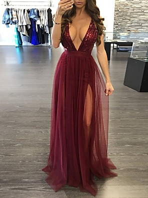 cheap Prom Dresses-Mermaid / Trumpet Beautiful Back Sexy Party Wear Prom Dress V Neck Sleeveless Sweep / Brush Train Sequined with Split 2020
