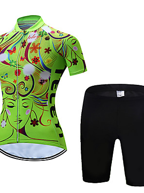 cheap Leggings-Women's Short Sleeve Cycling Jersey with Shorts Polyester Yellow Red Pink Floral Botanical Bike Clothing Suit Breathable Quick Dry Moisture Wicking Sports Floral Botanical Mountain Bike MTB Road Bike