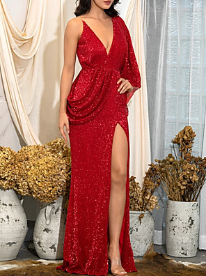 cheap Evening Dresses-Sheath / Column Sexy Sparkle Wedding Guest Formal Evening Dress One Shoulder Sleeveless Floor Length Sequined with Sequin Draping Split 2020