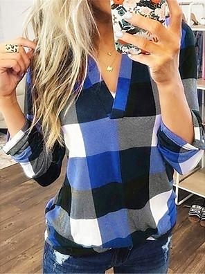 cheap Women's Blouses & Shirts-Women's Plus Size Blouse Plaid V Neck Tops Basic Spring Fall Blue Purple Red
