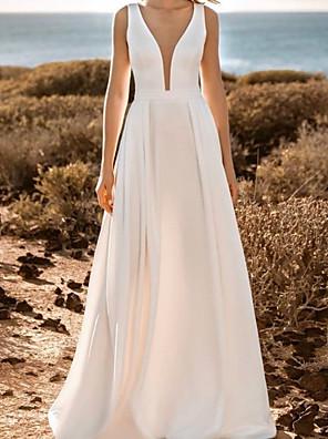 cheap Wedding Dresses-A-Line Wedding Dresses V Neck Sweep / Brush Train Satin Sleeveless Simple with Pleats 2020