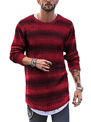 cheap Men's Pants & Shorts-Men's Striped Pullover Long Sleeve Sweater Cardigans Crew Neck Blue Red Yellow