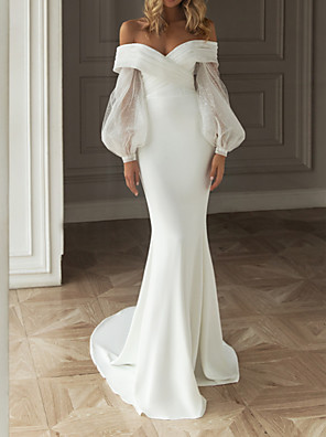 cheap Wedding Dresses-Sheath / Column Wedding Dresses Off Shoulder Sweep / Brush Train Satin Long Sleeve Simple with Ruched 2020