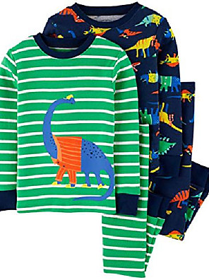 cheap Boys' Clothing Sets-toddler boy& #39;s 4 pc pajama cotton set pjs & #40;3t, excavating& #41;