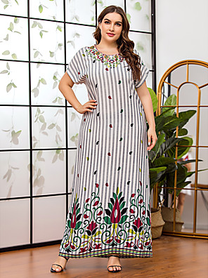 cheap Plus Size Dresses-Women's Shift Dress Maxi long Dress - Short Sleeve Striped Floral Embroidered Print Summer Fall Casual Elegant Daily Weekend Batwing Sleeve 2020 Rainbow L XL XXL XXXL