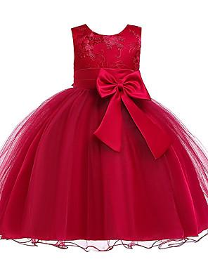 olcso Lány ruhák-Gyerekek Lány aranyos stílus Mértani Egyszínű Csipke Csokor Ujjatlan Térdig érő Ruha Medence