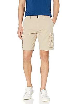 "cheap Men's Pants & Shorts-amazon brand - men& #39;s 9"" inseam cargo stretch canvas short, light khaki, 40"