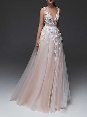 cheap Wedding Dresses-A-Line Wedding Dresses V Neck Floor Length Lace Tulle Sleeveless Country with Appliques 2020