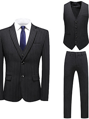 cheap Prom Dresses-Tuxedos Tailored Fit / Standard Fit Notch Single Breasted One-button Cotton Blend / Cotton / Polyester Damask / Stripes
