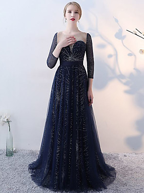 cheap Evening Dresses-A-Line Elegant Luxurious Engagement Formal Evening Dress Illusion Neck 3/4 Length Sleeve Sweep / Brush Train Tulle with Pleats Crystals 2020