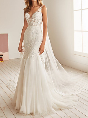 cheap Wedding Dresses-Mermaid / Trumpet Wedding Dresses V Neck Sweep / Brush Train Tulle Sleeveless Country Backless with Pleats Appliques 2020