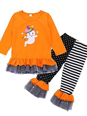 cheap Girls' Dresses-Toddler Girls' Basic Halloween Cartoon Halloween Print Long Sleeve Regular Regular Clothing Set Orange