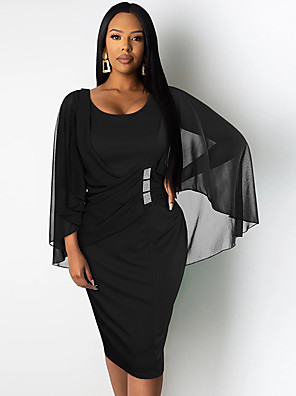 cheap Print Dresses-Women's A-Line Dress Knee Length Dress - Long Sleeve Solid Color Ruched Patchwork Summer Elegant Party Batwing Sleeve 2020 Black Blue S M L XL XXL XXXL