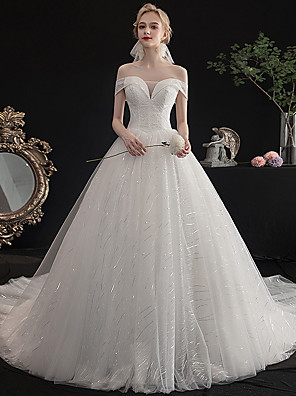cheap Prom Dresses-Ball Gown Wedding Dresses Off Shoulder Cathedral Train Tulle Cap Sleeve Formal Sparkle & Shine Elegant with Pleats 2020