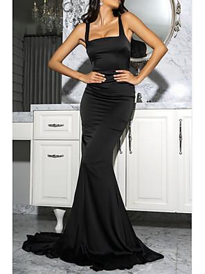 cheap Evening Dresses-Mermaid / Trumpet Vintage Sexy Wedding Guest Formal Evening Dress Scoop Neck Sleeveless Court Train Satin with Sleek 2020