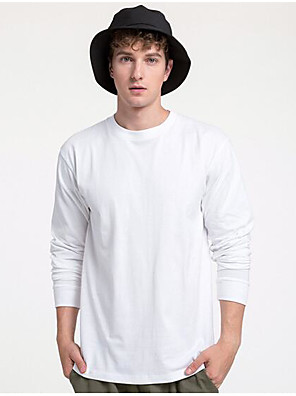 cheap Wedding Slips-Men's T-shirt Solid Color Long Sleeve Tops 100% Cotton Casual / Daily Round Neck Navy White Black / Sports / Spring / Summer