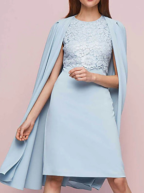 cheap Evening Dresses-Two Piece Sheath / Column Mother of the Bride Dress Elegant Jewel Neck Knee Length Chiffon Lace Sleeveless with Pleats Appliques 2020